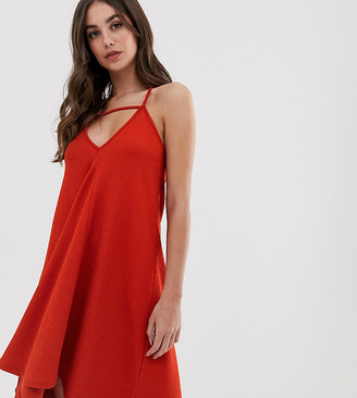 Asos Tall DESIGN Tall tab front swing mini sundress-Orange