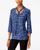 Style&Co. Style & Co. Printed Tie-Neck Blouse, Only at Macy's