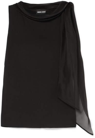 Giorgio Armani Tie-neck Stretch-silk Chiffon Blouse - Black