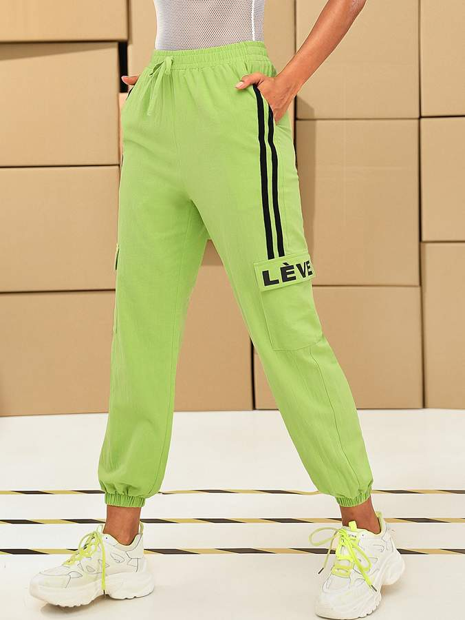 3964087a8609b Neon Lime Striped Side Flap Pocket Tapered Trousers