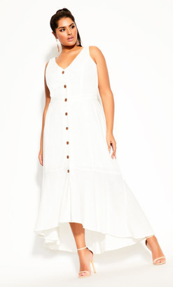 City Chic Sweetie Button Maxi Dress - ivory
