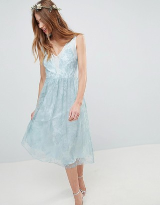 Asos Design DESIGN Design Delicate Lace Sheer Insert Midi Dress-Green