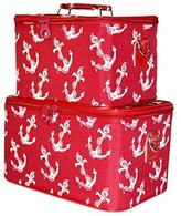 Ever Moda Red Nautical Anchors Cosmetic Makeup Train Case (2-piece set) by Ever Moda