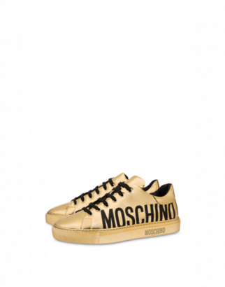 Moschino Laminated Faux Leather Sneakers Woman Gold Size 35 It - (5 Us)