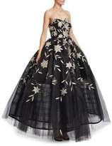Oscar de la Renta Sleeveless Tulle Floral Gown
