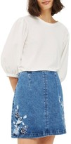 Topshop Women's Embroidered Denim A-Line Skirt