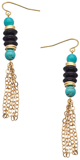 K. Amato Turquoise Onyx Tassel Earrings