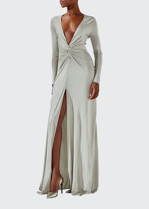 Ralph Lauren Collection Stellan Sequin-Embellished Plunging Evening Gown w/ Slit