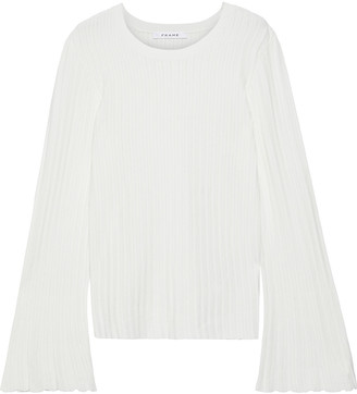 Frame Pointelle-trimmed Ribbed-knit Sweater