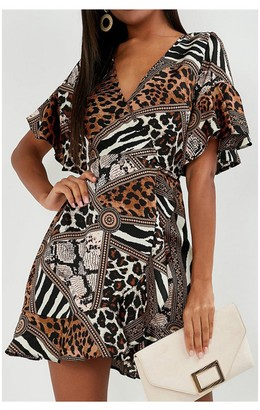 FS Collection Angel Sleeve Skater Wrap Dress In Animal Print