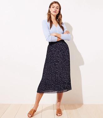 LOFT Petite Dotted Pleated Midi Skirt