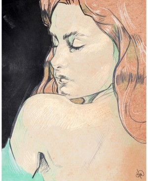 """Creative Gallery Woman's Shoulder Glance Colorized Drawing 24"""" x 20"""" Canvas Wall Art Print"""