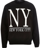 River Island MensBlack New York City sweatshirt