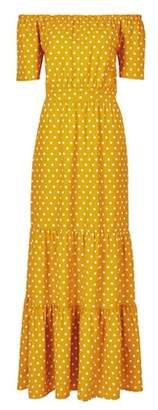 Dorothy Perkins Womens Yellow Spot Print Bardot Tiered Maxi Dress
