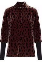 Tibi Leopard-Print Velvet Turtleneck Top