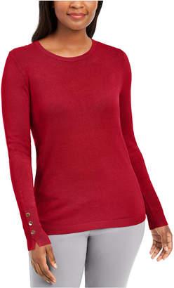 JM Collection Petite Button-Cuff Crewneck Sweater