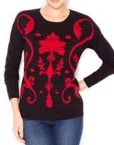 Kensie Kenie Red Women'mall Damak Print Crewneck Cardigan Black