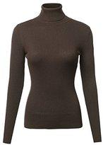 Made by Emma Basic Lightweight Ribbed Turtleneck Sweater Top Mocha L