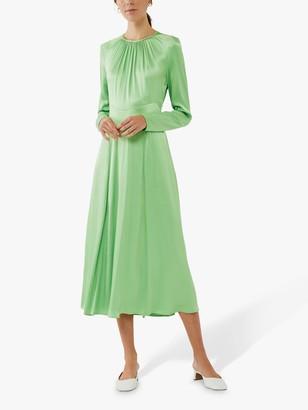 Ghost Dayla Satin Midi Dress, Green Haze