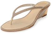 Rene Caovilla Crystal-Embellished Wedge Thong Sandal, Gold