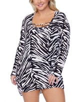 Thumbnail for your product : Raisins Curve Trendy Plus Size Alba Meru Printed Hooded Cover-Up Women's Swimsuit
