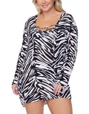 Raisins Curve Trendy Plus Size Alba Meru Printed Hooded Cover-Up Women's Swimsuit