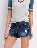 Charlotte Russe Refuge Mid-Rise Shortie Denim Shorts