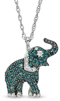 Zales 1/3 CT. T.W. Enhanced Blue and White Diamond Elephant Pendant in Sterling Silver