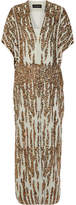 By Malene Birger Saribala Sequined Chiffon Gown - Gold