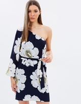 Warehouse Melody Floral One-Shoulder Dress