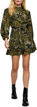Topshop Frill Long Sleeve Minidress