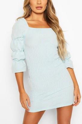 boohoo Linen Look Square Neck Shirred Mini Dress