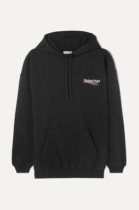 Balenciaga Oversized Cotton-jersey Hoodie - Black