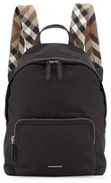 Burberry Abbeydale Nylon Check-Trim Backpack, Black