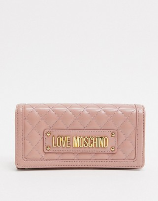 Love Moschino quilted purse with chain strap in pink