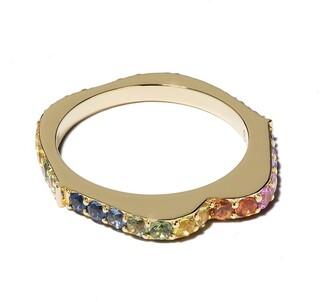 Raphaele Canot 18kt yellow gold OMG! rainbow sapphire ring