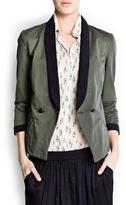MANGO Cotton two-tone blazer