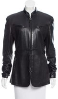 Giorgio Armani Mock Neck Leather Jacket