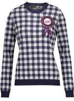 Love Moschino Sequined Embroidered Appliquéd Gingham Knitted Sweater