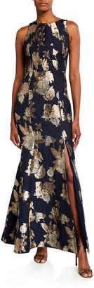 Aidan Mattox Sleeveless Floral Jacquard Mermaid Gown