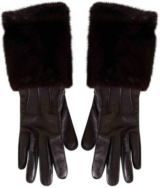 Burberry Burgundy Leather Gloves