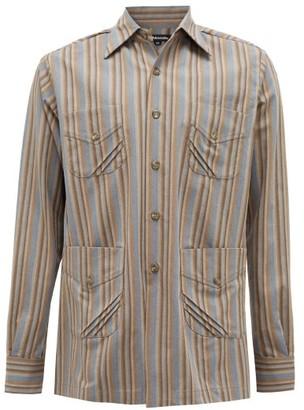 Ahluwalia Safari-pocket Striped Reclaimed-cotton Jacket - Brown