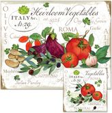 Heirloom Vegetables 12-Inch x 15-Inch Glass Cutting Board with Trivet Set