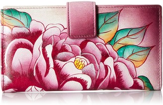 Anuschka Women's Handpainted Leather Two Fold Precious Peony Wallet One Size