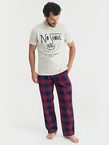 Joules Goodnight T-shirt And Trousers Lounge Set, Plum Check