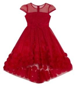 Rare Editions Big Girl Illusion Glitter Mesh Dress With Soutache High Low Skirt