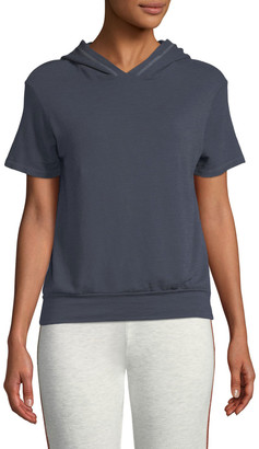 Monrow Hooded Short-Sleeve Soft Cotton-Blend Pullover