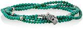 M. Cohen Men's Bead & Skull Charm Wrap Bracelet-TURQUOISE