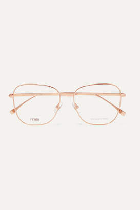 Fendi Square-frame Rose Gold-tone Optical Glasses