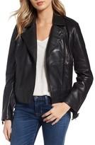 Bernardo Women's Belted Leather Moto Jacket